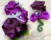 Custom Wristlet and Boutonniere for Kira. Shades of purple double face bridal satin, regal chiffon, bling and micro-beads