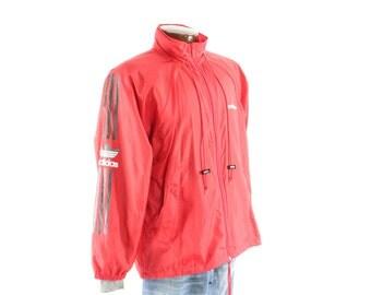 Vintage 90s ADIDAS Track Jacket Trefoil Windbreaker Zipper Red Nylon 1990s Mens Outerwear Large L Medium M