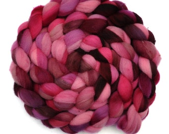 Hand dyed spinning fiber - Fine Domestic wool roving  - 4.4 ounces - Enchanting Girl