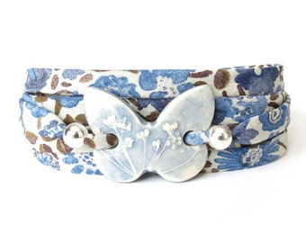 Unique gifts for birthday girls, blue butterfly bracelet with floral Liberty fabric, handmade clay connector bead, creative jewellery