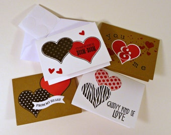 Adult Love Notes with envelopes, set of 4, Mini cards, Heart love cards, adult lunch box notes, masculine mini cards, hand stamped cards