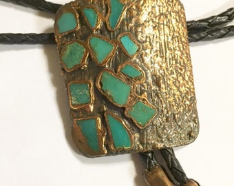 Vintage Solid Copper with Turquoise Bolo by Bell Trading Company