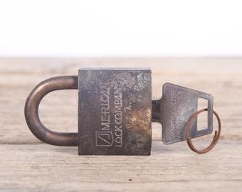 Vintage Lock / Lock and Key / Rusted Antique Locks / Old Metal Lock / Small Safe Lock / RFD / Slaymaker