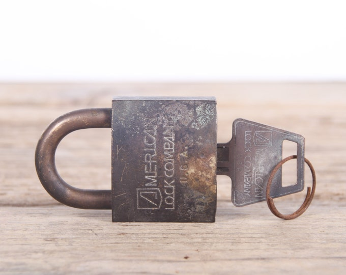 Vintage Lock / Lock and Key / Rusted Antique Locks / Old Metal Lock / Small Safe Lock / RFD / Slaymaker