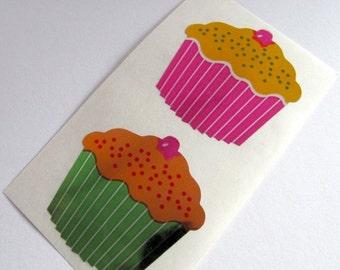 ON SALE Rare Vintage Hambly Reflective Mylar Cupcake Stickers - 80's Silver Foil Metallic Frosting Cherry Sprinkles Cake Dessert Scrapbook