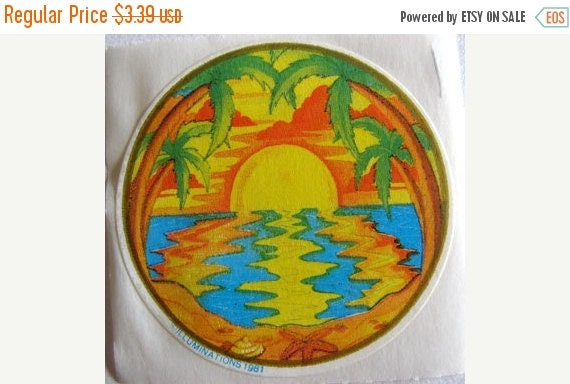 ON SALE Vintage Rare Illuminations Sunset on the Beach with Palm Trees Sticker 80's
