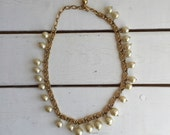 Vintage 60's Trifari Choker / Gold Tone Pearl Necklace