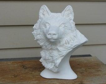 Ceramic Bisque Wolf Bust