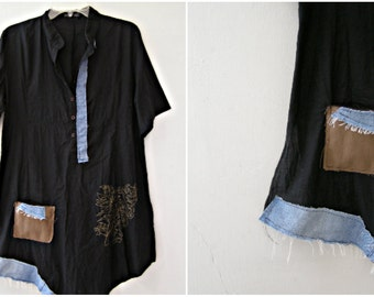 Upcycled Black Tunic Top M L, Chinese Collar  Sheer Summer Dress Shirt, Women Rustic Upcycled Clothes, Refashioned Eco Chic Clothing Hipster