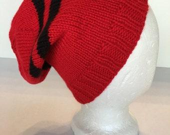 Mens Womens Knitted Skull Cap Hat Slouch Cap Ski Hat Winter Hat Beanie Watch Cap Tam Tammy Red w Black Stripes