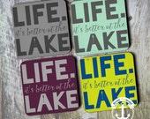 Coaster Set   Lake House   Life is Better at the Lake   Set of 4 Cork Back   Options at Checkout