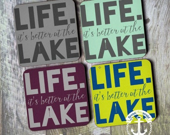 Lake House Coaster Set   Life is Better at the Lake   Cork Back Home Accessories