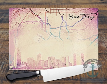 Glass Cutting Board - San Diego Skyline | City Map Hometown Decor | Small or Large Kitchen Art for Your Countertop