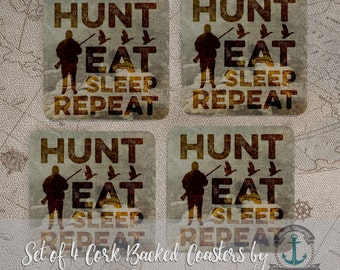 Coaster Set   Hunt, Eat, Sleep and Repeat Lodge Cabin Rustic Home Decor   Set of 4 Cork Back   Options at Checkout