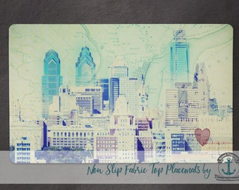 Placemat - Philadelphia Cityscape | Vintage Philly Map | Anti Skid/Non Slip Fabric Top Rubber Backed Awesomeness