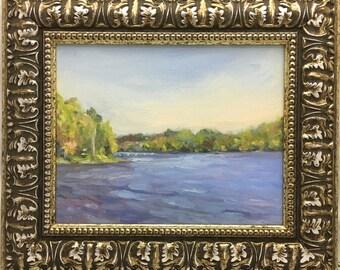 Lakeside View Original Plein Air Impressionist Landscape Oil Painting Framed