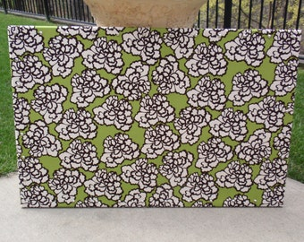 "CorkBoard PinBoard Cork Bulletin Pin Fabric Message Board 23"" x 35"" Green, Black & Cream Floral Fabric Shiny Chrome Nail Head Trim, Pushpins"