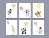 Animal prints set, nursery wall decor, zoo animal nursery art, childrens wall art, rainbow color kids room, print set, kids playroom