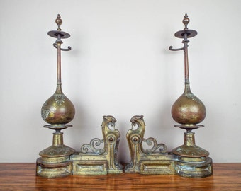 Antique Art Deco French Brass Chants Panther Cat Andirons ~ Unique Home Decoration for 1920s Style Home, One of a Kind Housewarming Gift