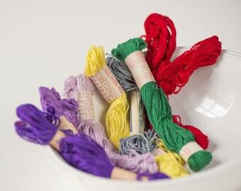Soviet vintage embroidery yarn, lemon yellow, green, violet, purple, red shades skeins,cotton strand hand craft set 7,vintage craft supplies