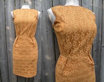 50s, Mustard Yellow Lace Wiggle Dress - S, Tall
