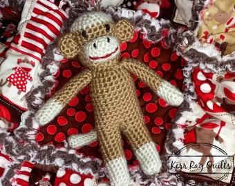 Sock Monkey Rag Quilt and Crocheted Sock Monkey Gift Set