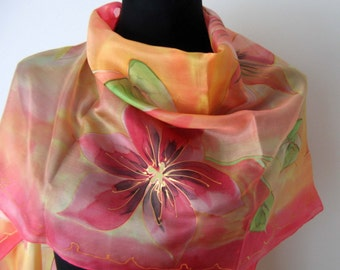 Floral pink salmon silk scarf. Flowers scarf. Hand painted silk scarf. Fashion art scarf.