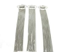 10% off SALE Tassel Pendant-- Silver Toned Chain Double Terminated Crystal Quartz Tassel Pendant - (S71B24-02)