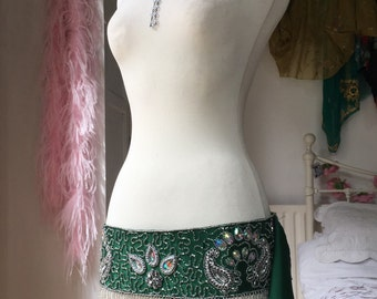 Belly Dance Belt in Green and Gold
