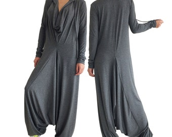 AUTUMN drop-crotch gray jumpsuit overall harem pants fall fashion casual oversized Plus Size jumpsuits women
