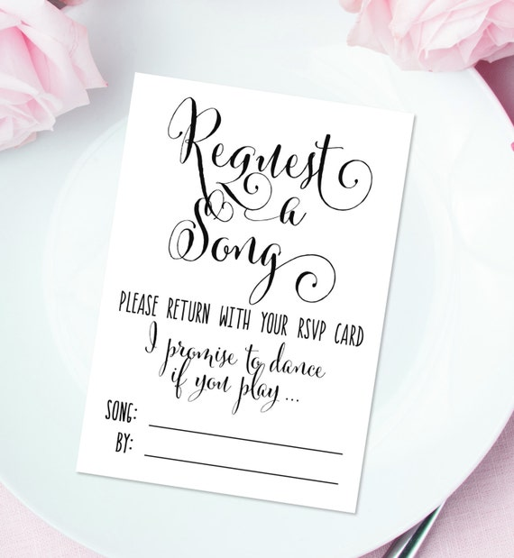 Request a Song Cards 3.5 x 5 Cards DIY Printable Bella