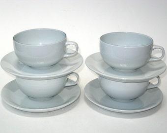 Royal Copenhagen Aluminia BLUE LINE Set 4 Fajance Lg Coffee Tea Cups & Saucers - Mid Century Modern China Denmark