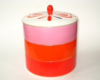 Holt Howard Stack Set Red Hearts - 3 Lidded Ceramic Kitchen Stacking Containers 1962