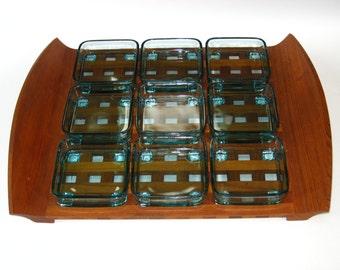 Dansk Denmark Quistgaard Lattice / Grid Large Teak Tray & 9 Blue Glass Dish Inserts - Complete Set Mid Century Modern Serving Trays