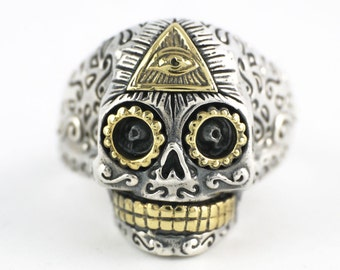 Sterling Silver Sugar Skull Skeleton Pyramid Eye Adjustable Ring Men