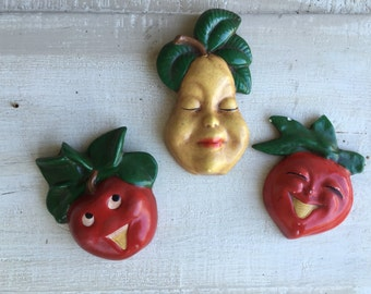Fruit wall art anthropomorphic fruit wall decoration vintage Pear apple strawberry with faces wall art