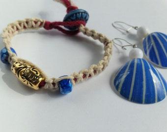 70's Faux Shell Acrylic Beach Dangle Pierced Plastic Earrings, Macrame Friendship Bracelet