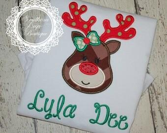 Girl's Reindeer Shirt - Christmas Applique Design - Girl's holiday shirt