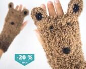 Bear Fingerless Gloves ~ FREE Shipping Worldwide