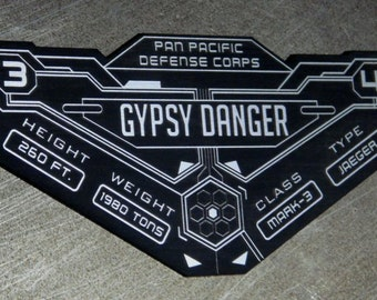 Custom Gypsy Danger Specifications Data Plate PACIFIC RIM JAEGER