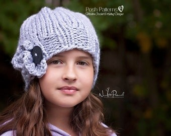 Knitting Pattern - Knit Hat Pattern - Knit Slouchy Hat Pattern - Knitting Pattern Hat - Includes Toddler, Child, Adult Sizes - PDF 174