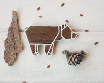 Bear brooch, origami bear pin, wooden brooch,animal brooch,walnut wood brooch