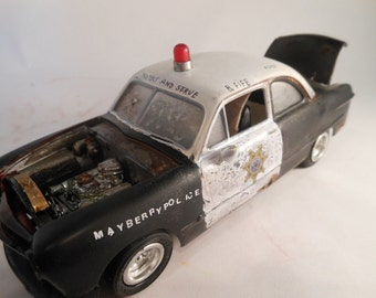 Classicwrecks Mayberry Police Scale Model Car Rusted Wreck Black and White