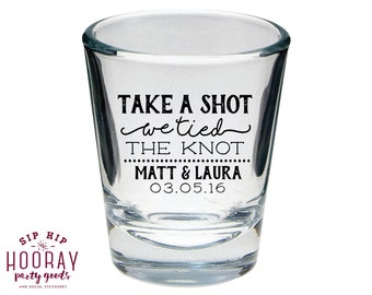 Take a Shot, Wedding Favors, We Tied the Knot Shot Glass, Personalized Shot Glasses, Wedding Shot Glasses, Custom Shot Glasses, 1446