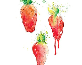 Giclee Fine Art Print: Strawberry Juice Watercolour Painting