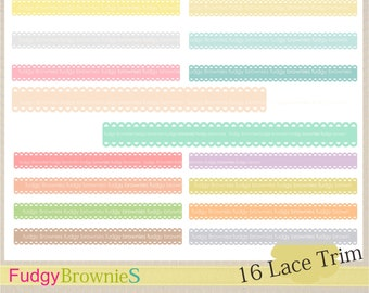 ON SALE, ribbon border,soft color Borders Clip Art, ribbon line clip art,lace trim bright color,scalloped border,lace trim-02