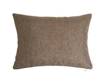 "Tan Brown Cosmo Linen Decorative Throw Pillow Cover / Pillow Case / Cushion Cover / 12x16"""