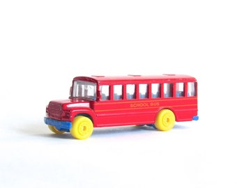 Vintage School Bus - Collectible Miniature School Bus - Red Diecast Metal - ABC's - Maisto