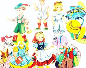 Heidi and Peter Saalfield Stand Up Paper Dolls, 31 Pieces