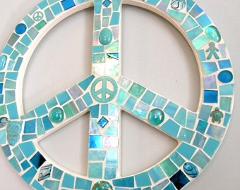 Stained Glass Mosaic PEACE SIGN - Turquoise/Aqua Stained Glass/Beads